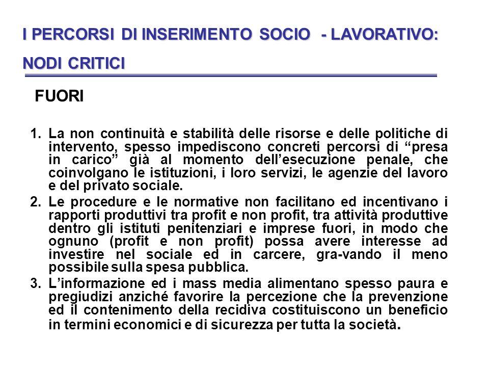 I PERCORSI DI INSERIMENTO SOCIO - LAVORATIVO: NODI CRITICI