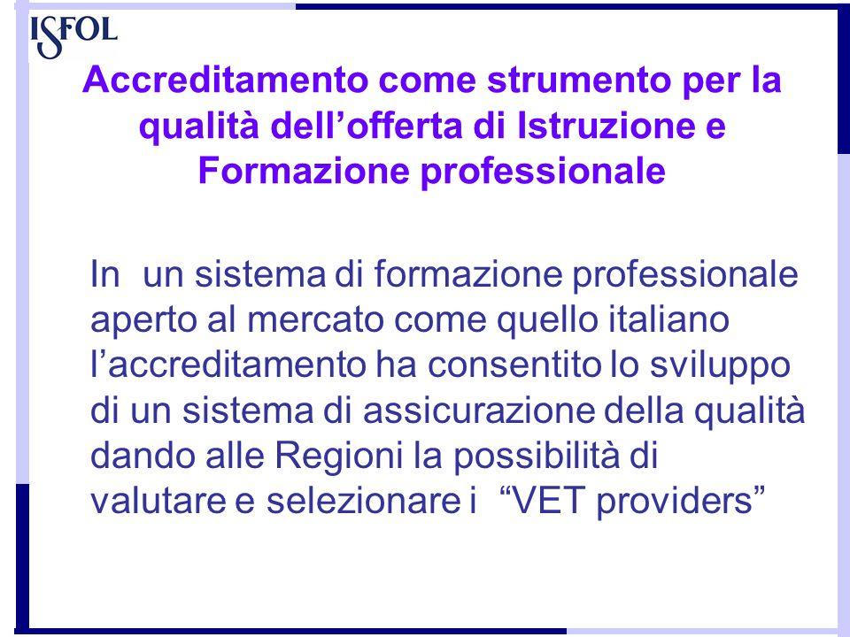 Accreditamento come strumento per la qualità dell'offerta di Istruzione e Formazione professionale
