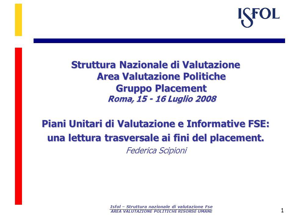Piani Unitari di Valutazione e Informative FSE:
