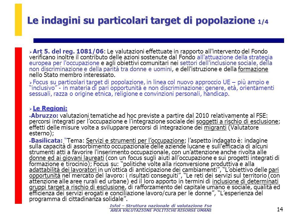 Le indagini su particolari target di popolazione 1/4