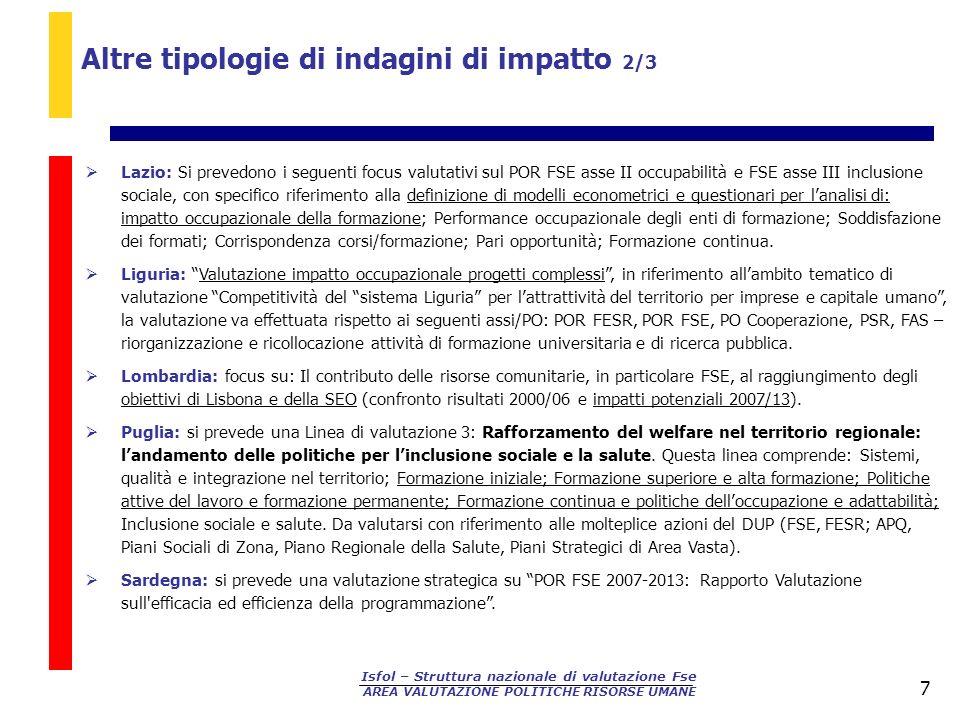 Altre tipologie di indagini di impatto 2/3