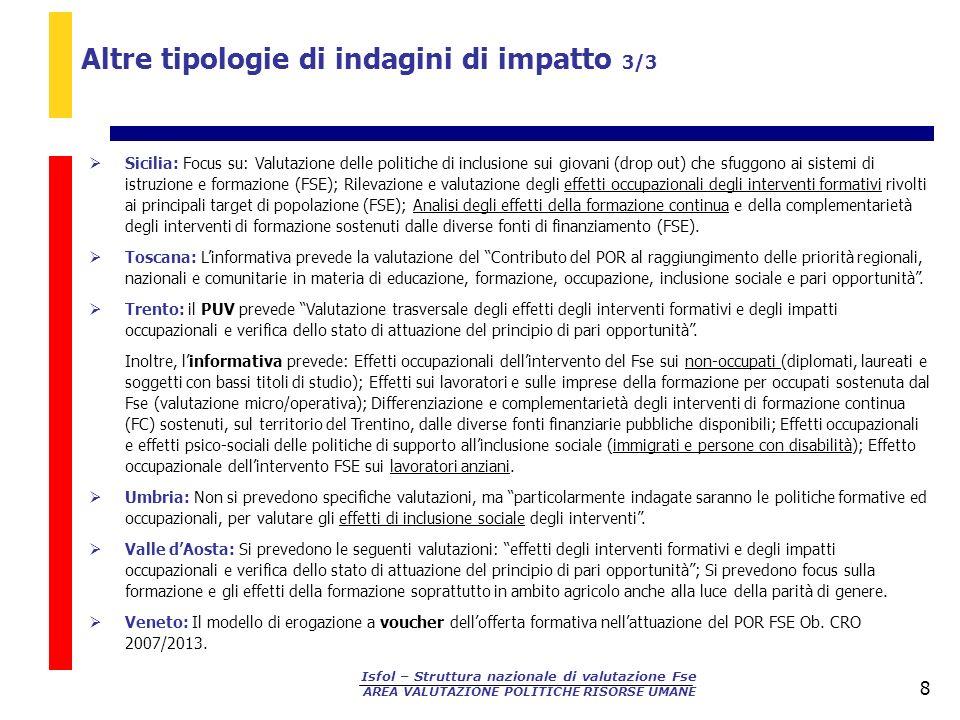 Altre tipologie di indagini di impatto 3/3
