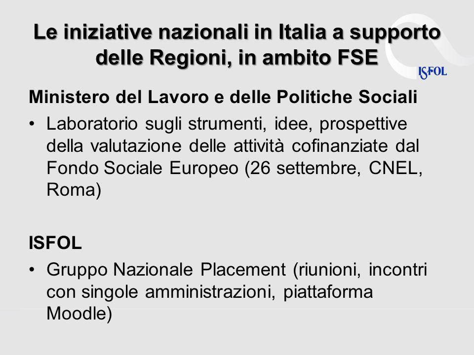 Le iniziative nazionali in Italia a supporto delle Regioni, in ambito FSE