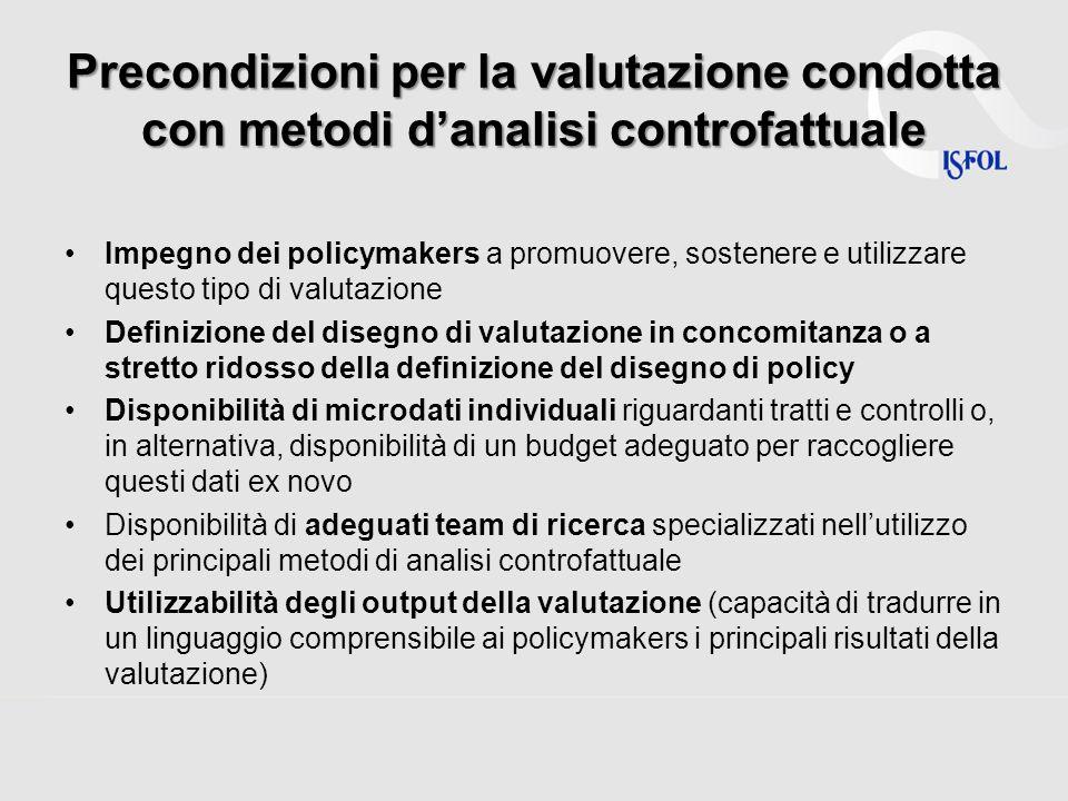 Precondizioni per la valutazione condotta con metodi d'analisi controfattuale