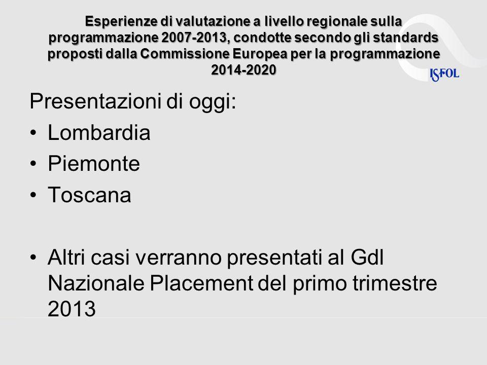 Presentazioni di oggi: Lombardia Piemonte Toscana