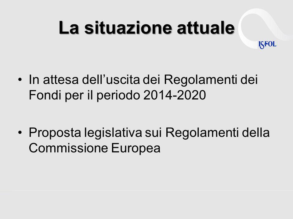 La situazione attuale In attesa dell'uscita dei Regolamenti dei Fondi per il periodo 2014-2020.