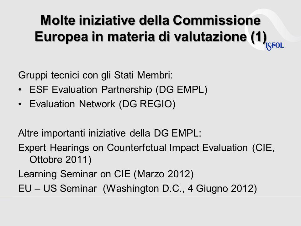 Molte iniziative della Commissione Europea in materia di valutazione (1)