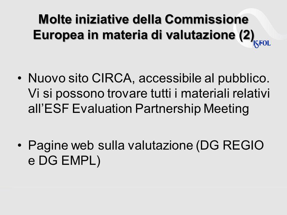 Molte iniziative della Commissione Europea in materia di valutazione (2)