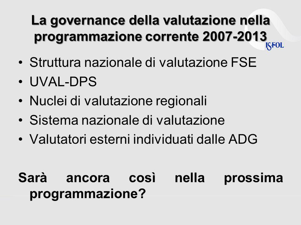 La governance della valutazione nella programmazione corrente 2007-2013