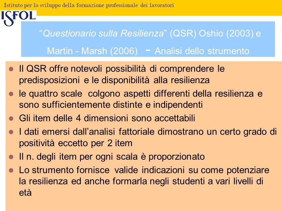 Questionario sulla Resilienza (QSR) Oshio (2003) e Martin - Marsh (2006) - Analisi dello strumento