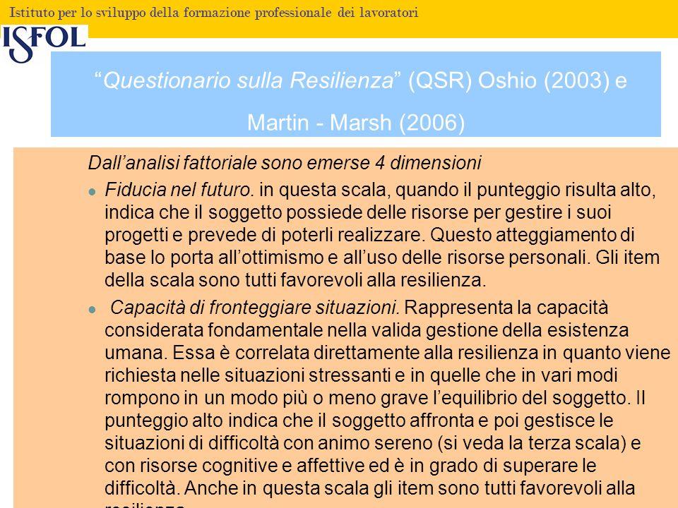 Questionario sulla Resilienza (QSR) Oshio (2003) e Martin - Marsh (2006)