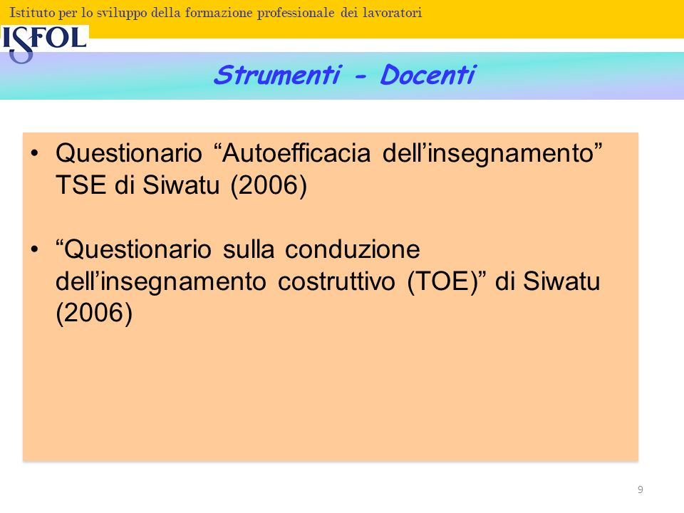 Questionario Autoefficacia dell'insegnamento TSE di Siwatu (2006)