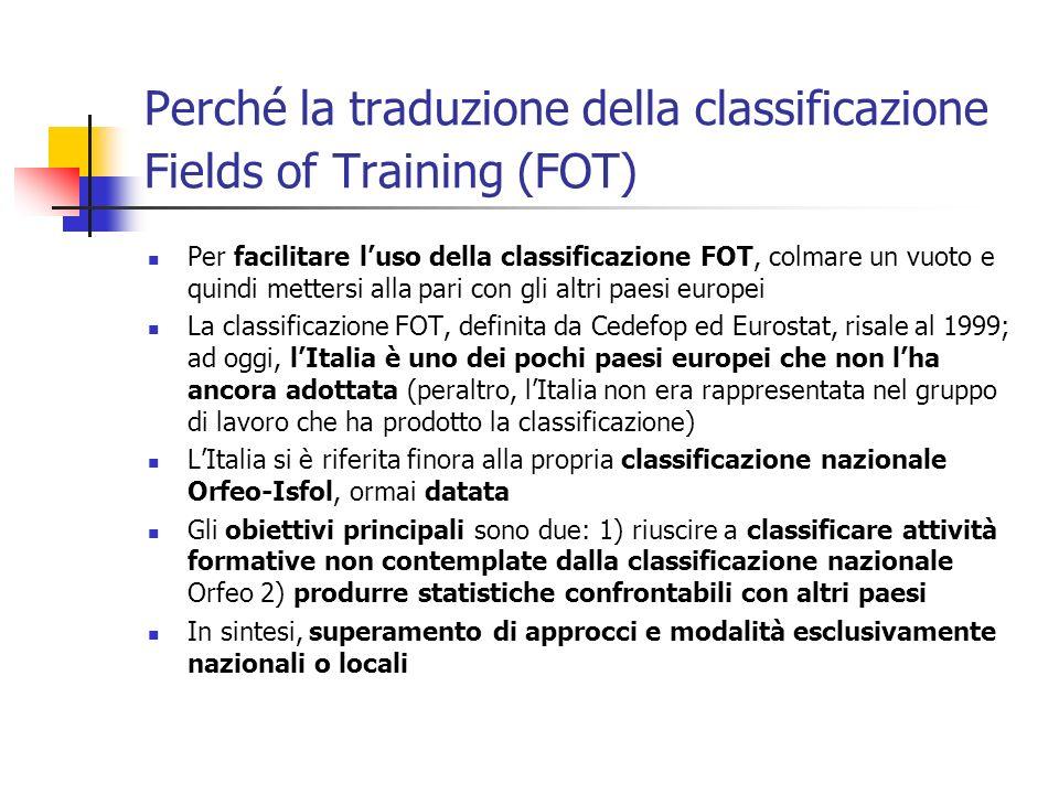 Perché la traduzione della classificazione Fields of Training (FOT)