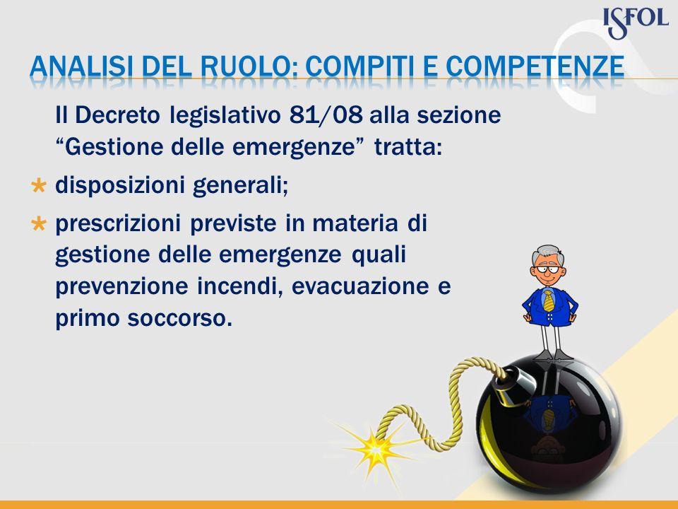 ANALISI DEL RUOLO: COMPITI E COMPETENZE
