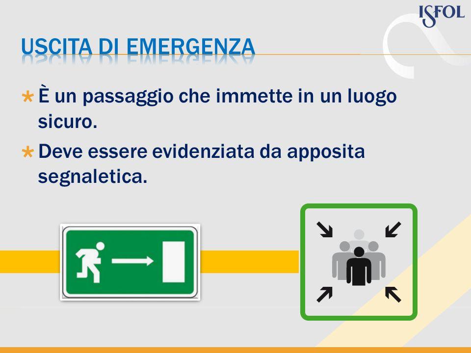 uscita di emergenza È un passaggio che immette in un luogo sicuro.