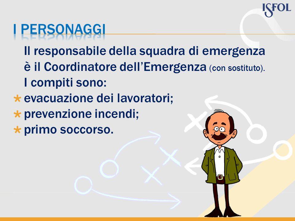 I personaggi Il responsabile della squadra di emergenza è il Coordinatore dell'Emergenza (con sostituto).