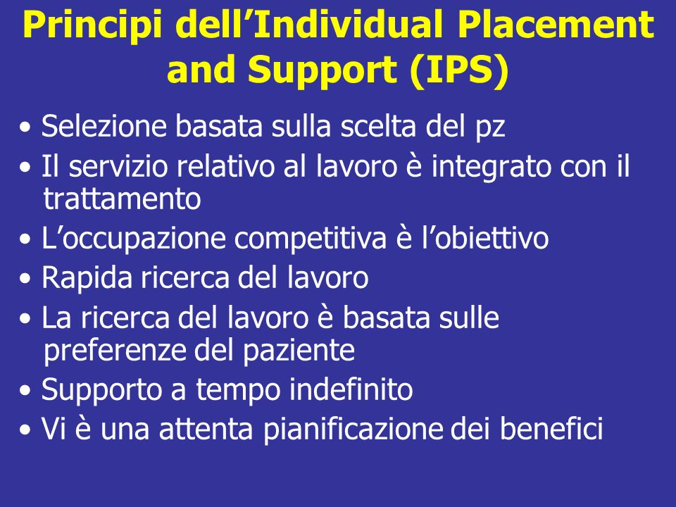 Principi dell'Individual Placement and Support (IPS)