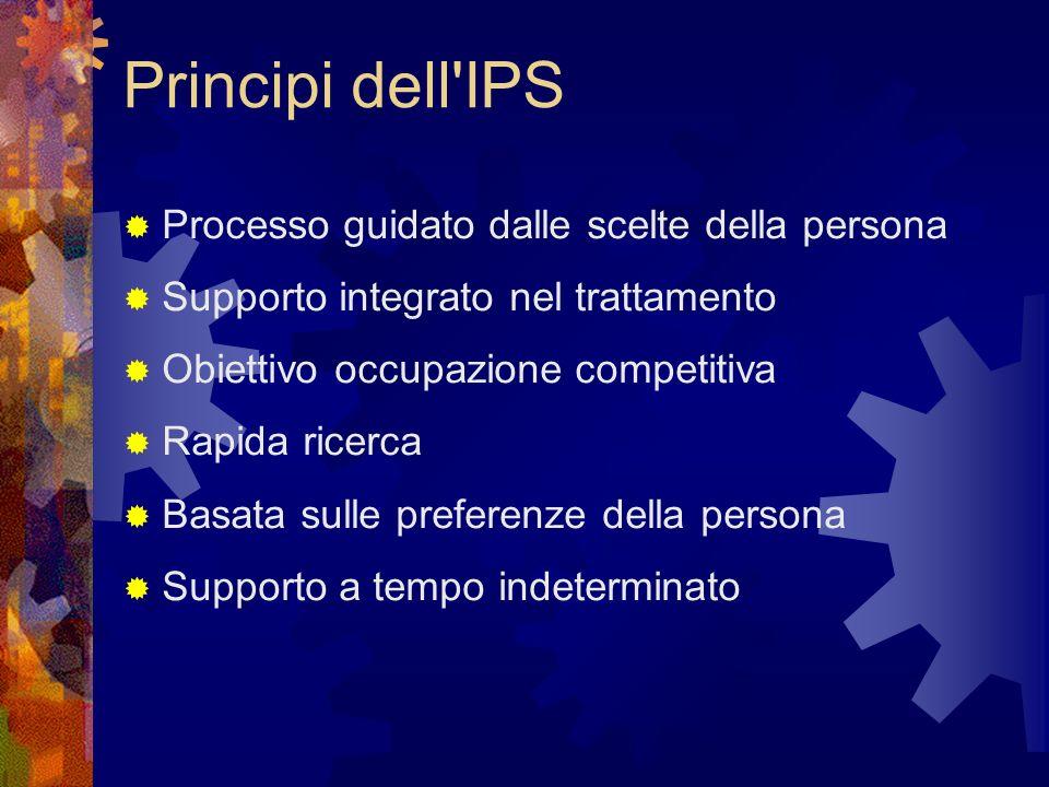 Principi dell IPS  Processo guidato dalle scelte della persona