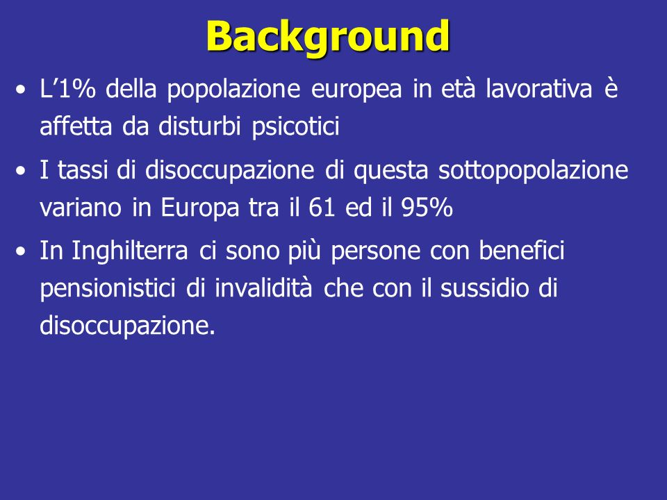 BackgroundL'1% della popolazione europea in età lavorativa è affetta da disturbi psicotici.