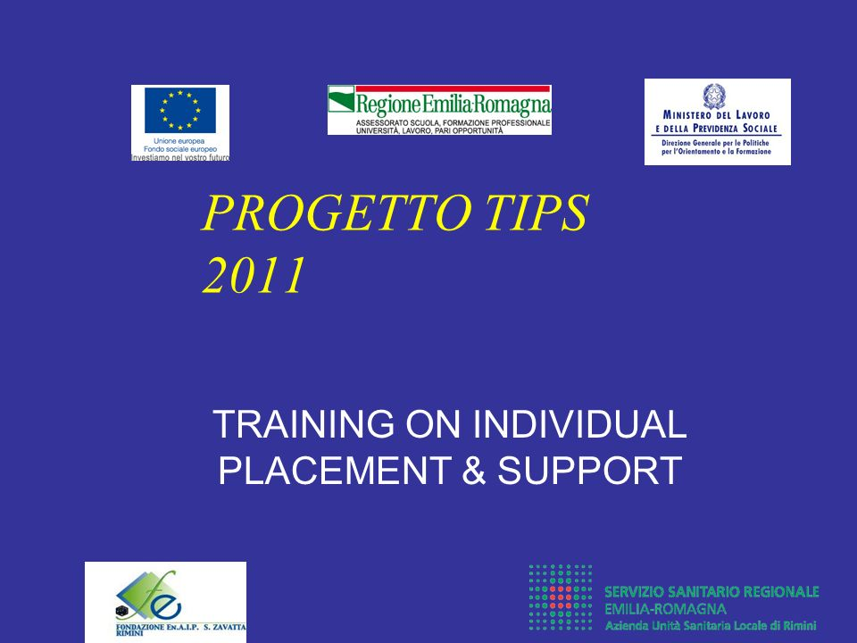 TRAINING ON INDIVIDUAL PLACEMENT & SUPPORT