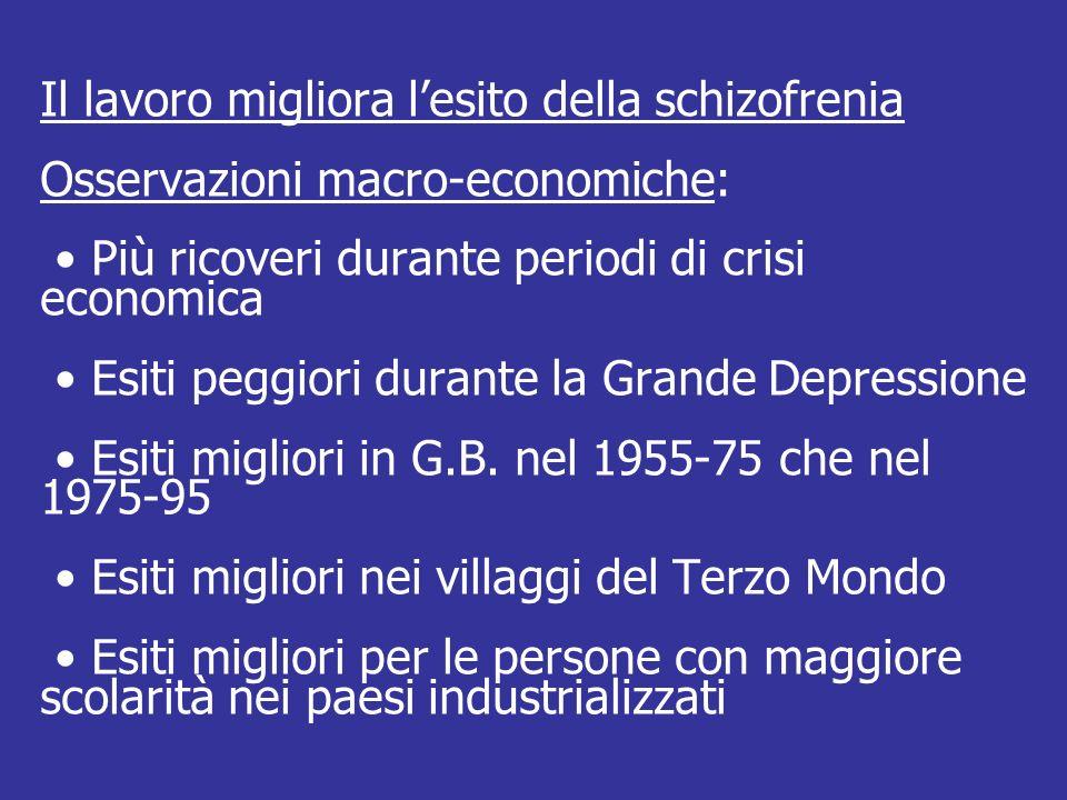 Il lavoro migliora l'esito della schizofrenia Osservazioni macro-economiche: • Più ricoveri durante periodi di crisi economica • Esiti peggiori durante la Grande Depressione • Esiti migliori in G.B.