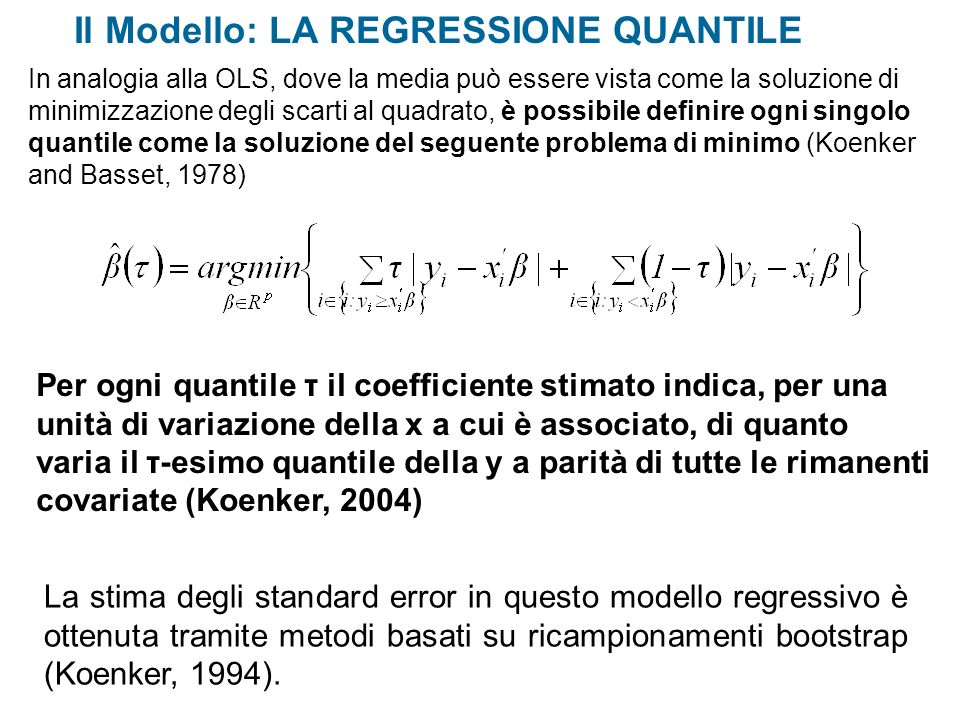 Il Modello: LA REGRESSIONE QUANTILE