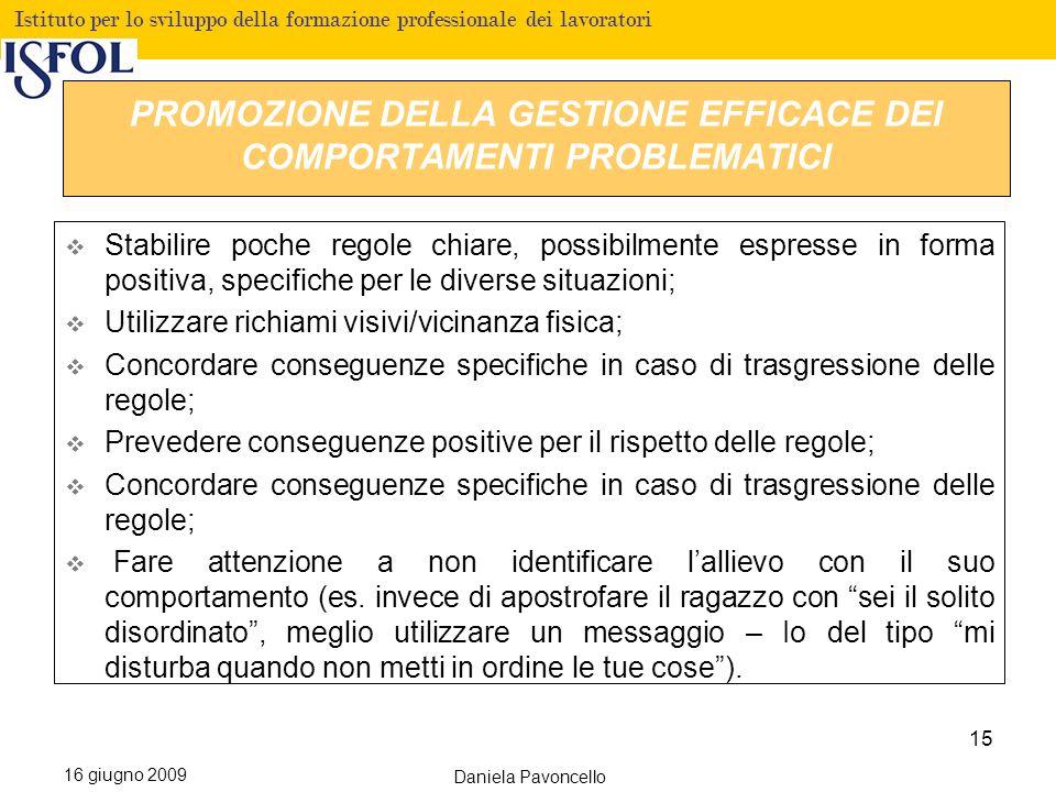 PROMOZIONE DELLA GESTIONE EFFICACE DEI COMPORTAMENTI PROBLEMATICI