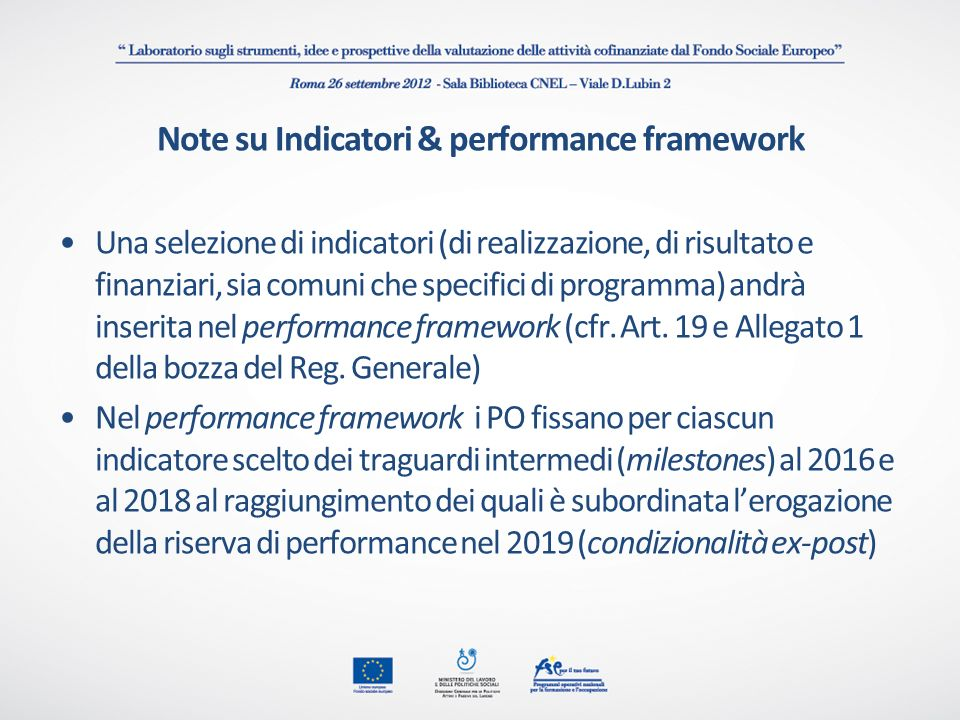 Note su Indicatori & performance framework