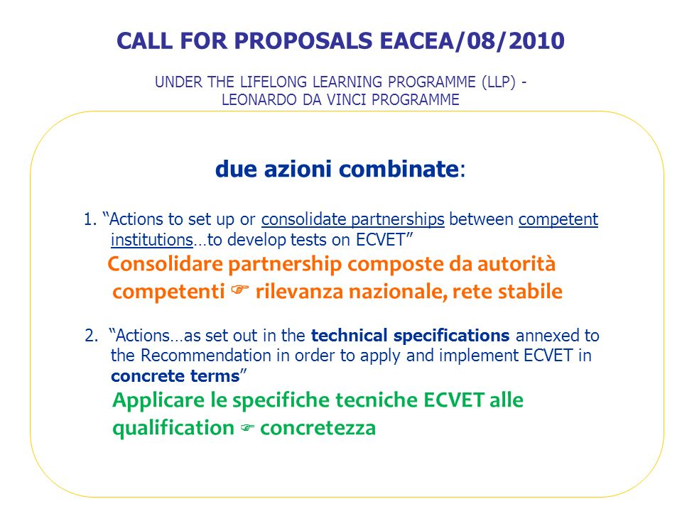 CALL FOR PROPOSALS EACEA/08/2010