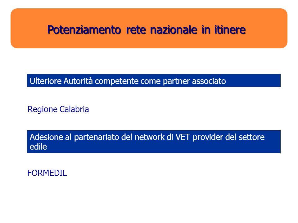 Potenziamento rete nazionale in itinere