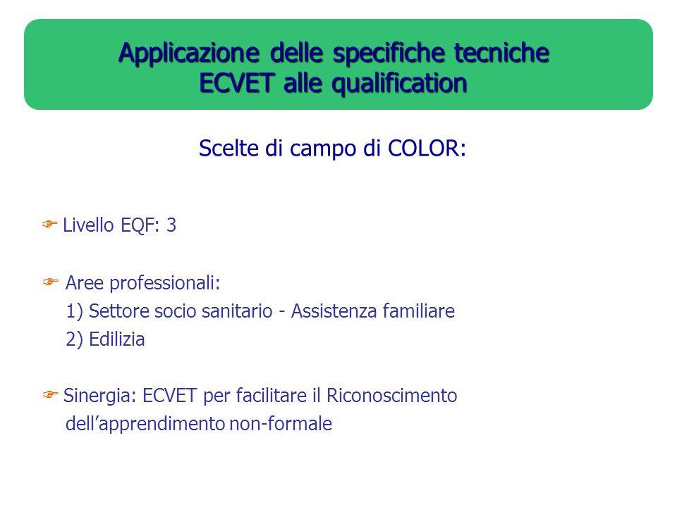 Applicazione delle specifiche tecniche ECVET alle qualification