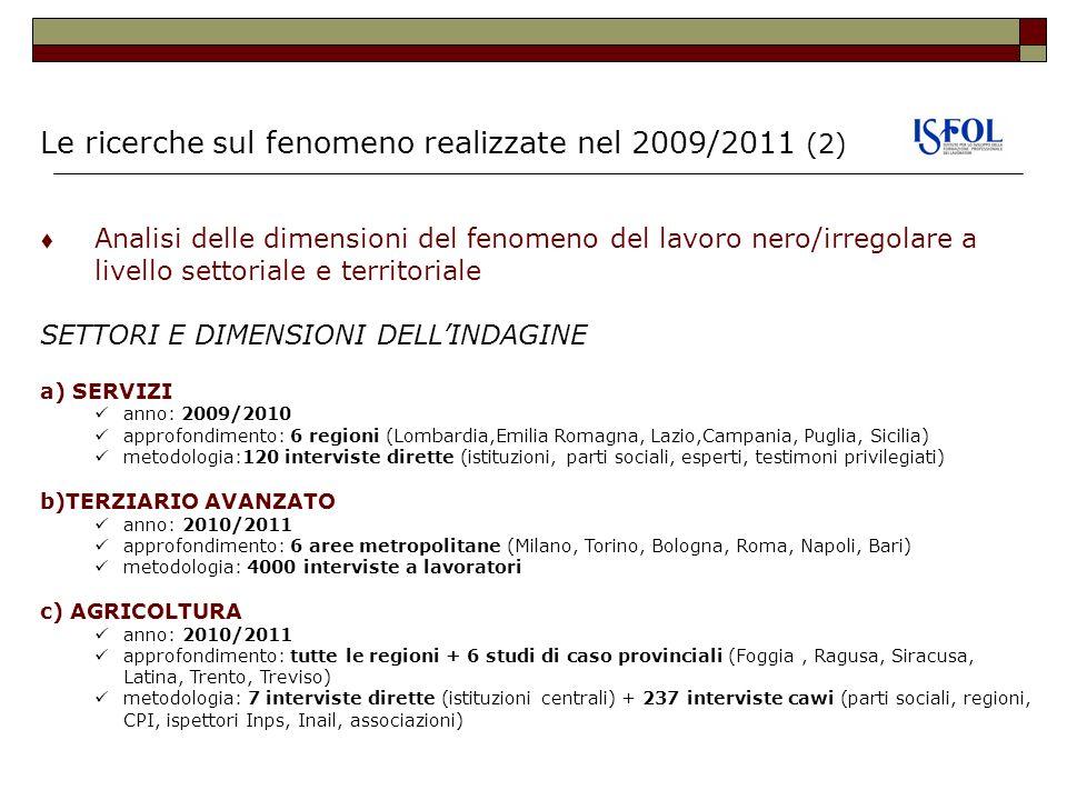 Le ricerche sul fenomeno realizzate nel 2009/2011 (2)