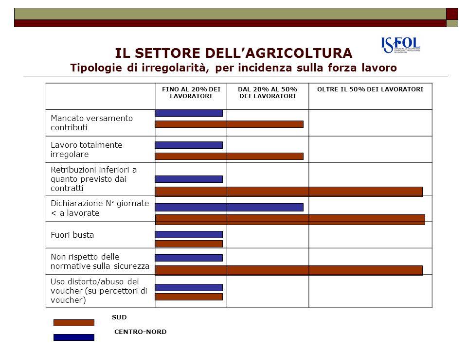 IL SETTORE DELL'AGRICOLTURA Tipologie di irregolarità, per incidenza sulla forza lavoro