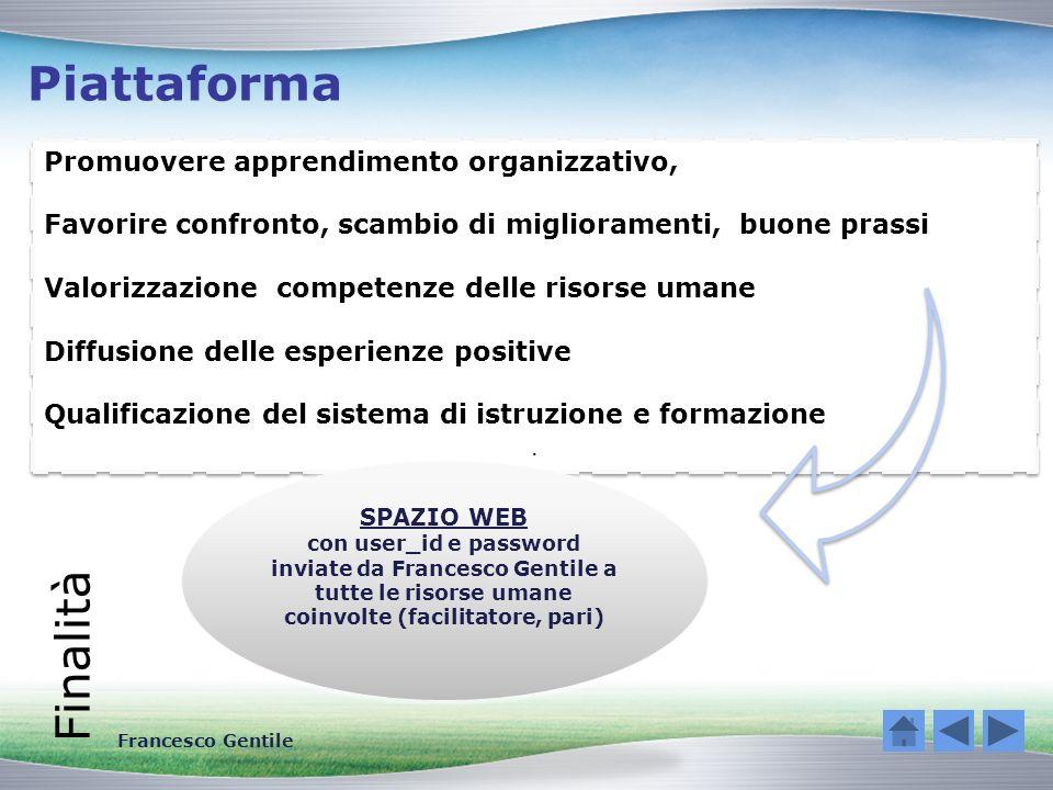 Piattaforma Finalità Promuovere apprendimento organizzativo,