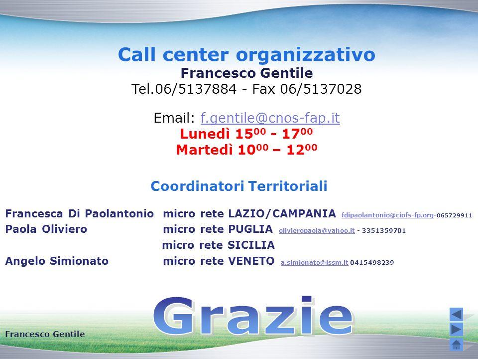 Call center organizzativo Coordinatori Territoriali