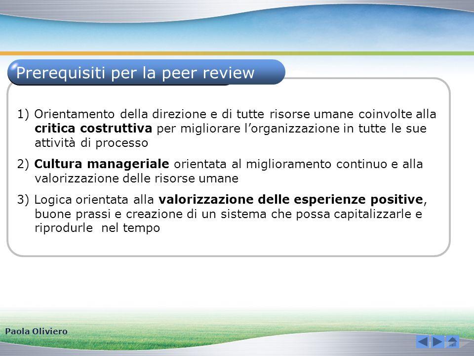 Prerequisiti per la peer review