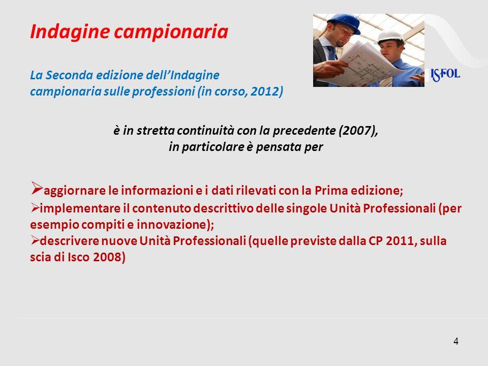 Indagine campionaria La Seconda edizione dell'Indagine. campionaria sulle professioni (in corso, 2012)