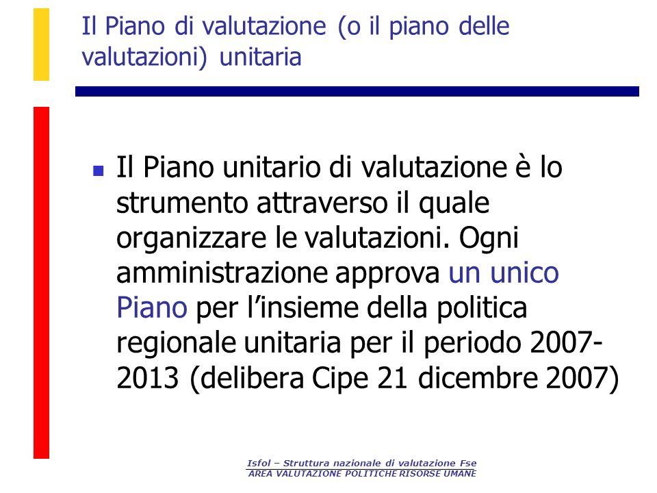 Il Piano di valutazione (o il piano delle valutazioni) unitaria