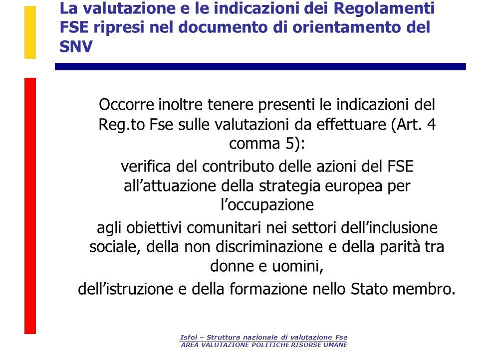 La valutazione e le indicazioni dei Regolamenti FSE ripresi nel documento di orientamento del SNV