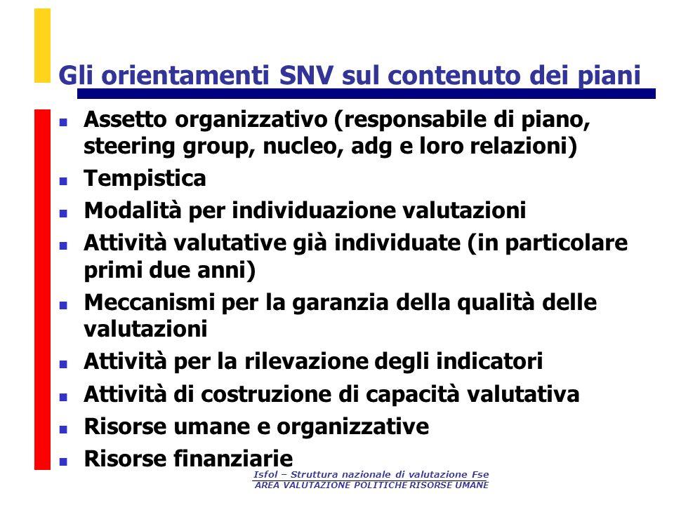 Gli orientamenti SNV sul contenuto dei piani