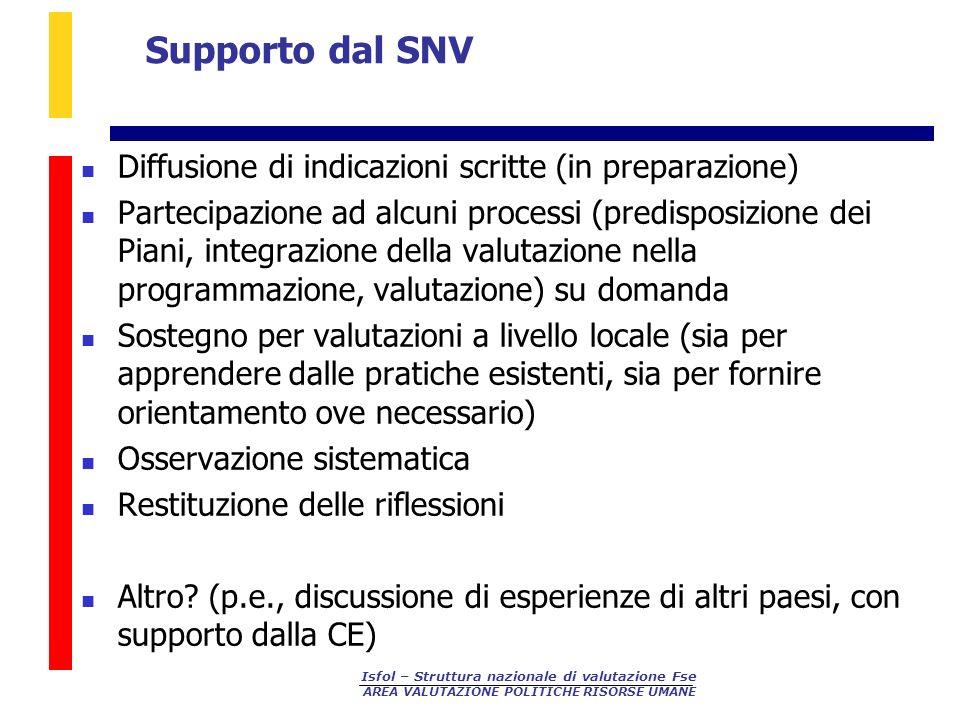 Supporto dal SNV Diffusione di indicazioni scritte (in preparazione)
