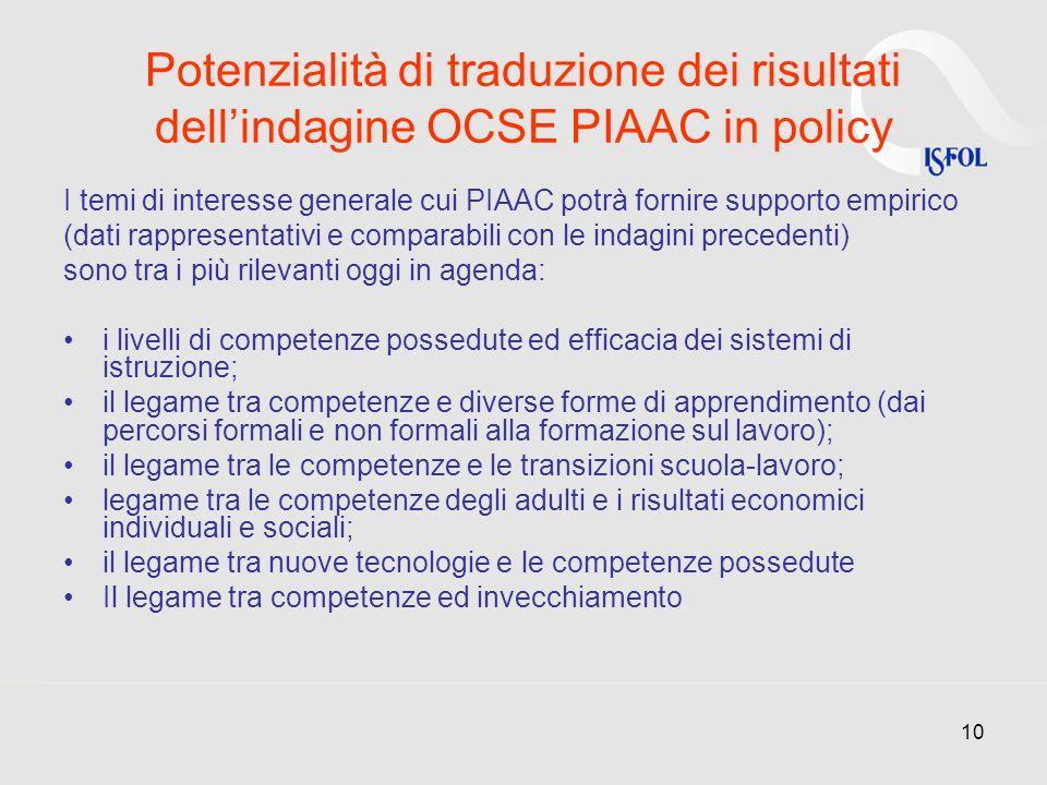 Potenzialità di traduzione dei risultati dell'indagine OCSE PIAAC in policy