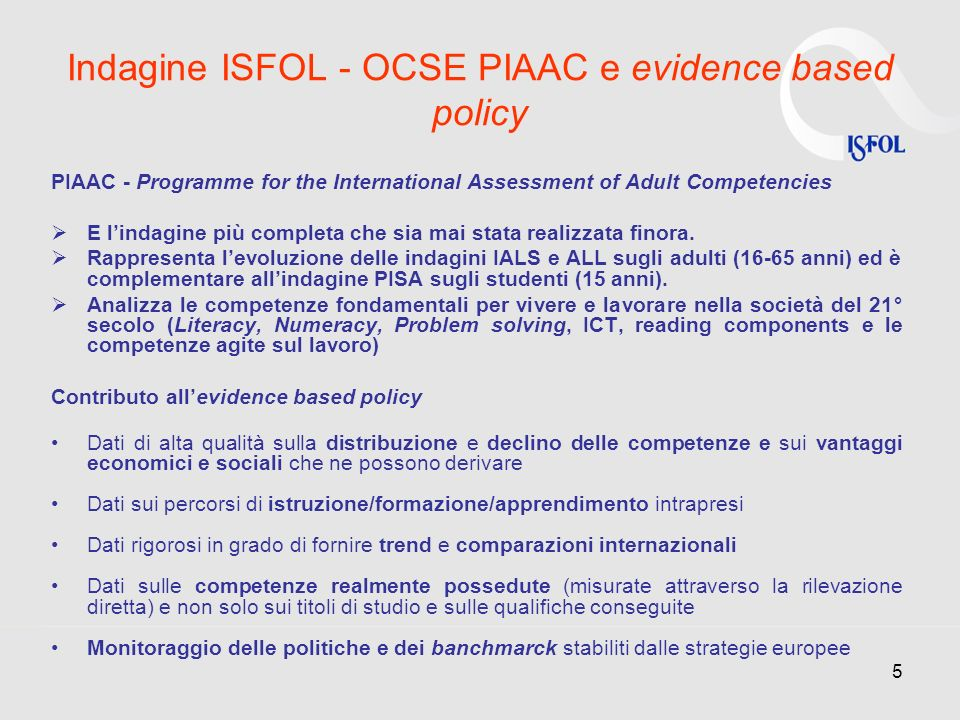 Indagine ISFOL - OCSE PIAAC e evidence based policy