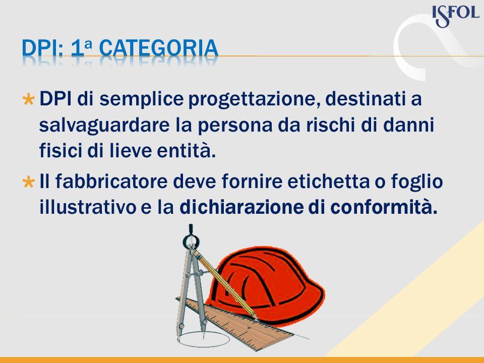 Dpi: 1a categoria DPI di semplice progettazione, destinati a salvaguardare la persona da rischi di danni fisici di lieve entità.