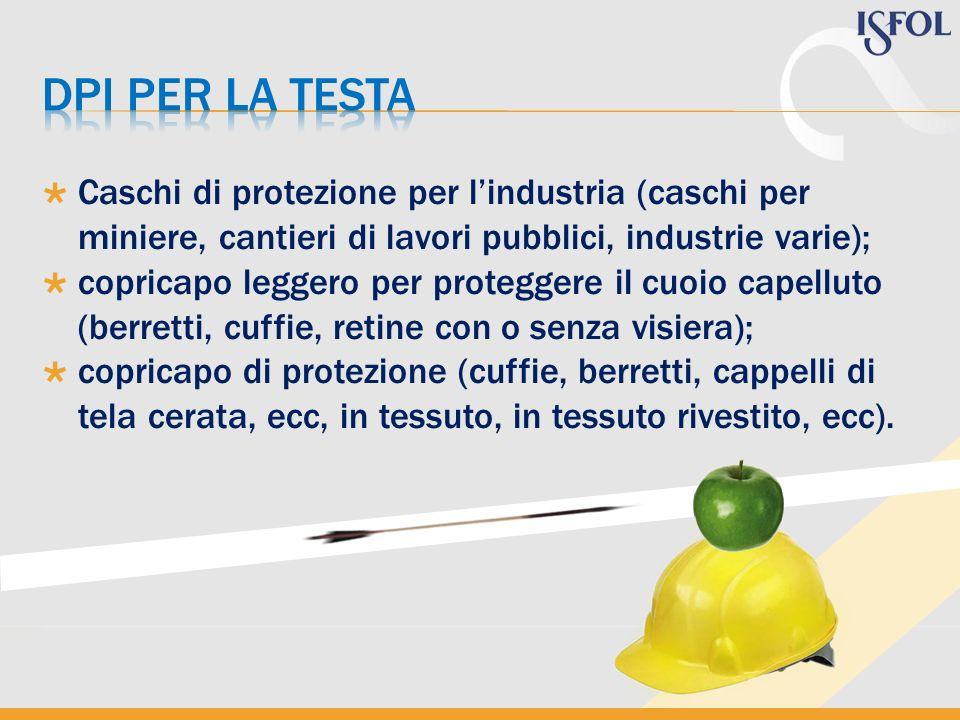 Dpi per la TESTA Caschi di protezione per l'industria (caschi per miniere, cantieri di lavori pubblici, industrie varie);