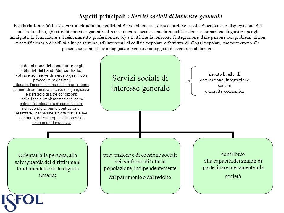 Aspetti principali : Servizi sociali di interesse generale
