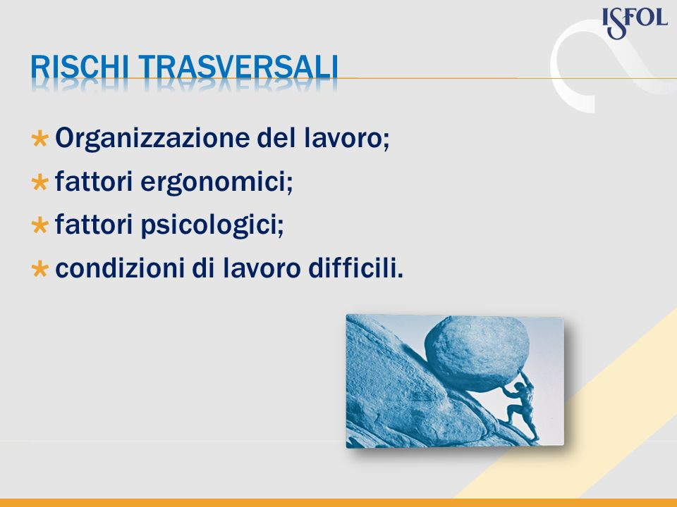 Rischi trasversali Organizzazione del lavoro; fattori ergonomici;