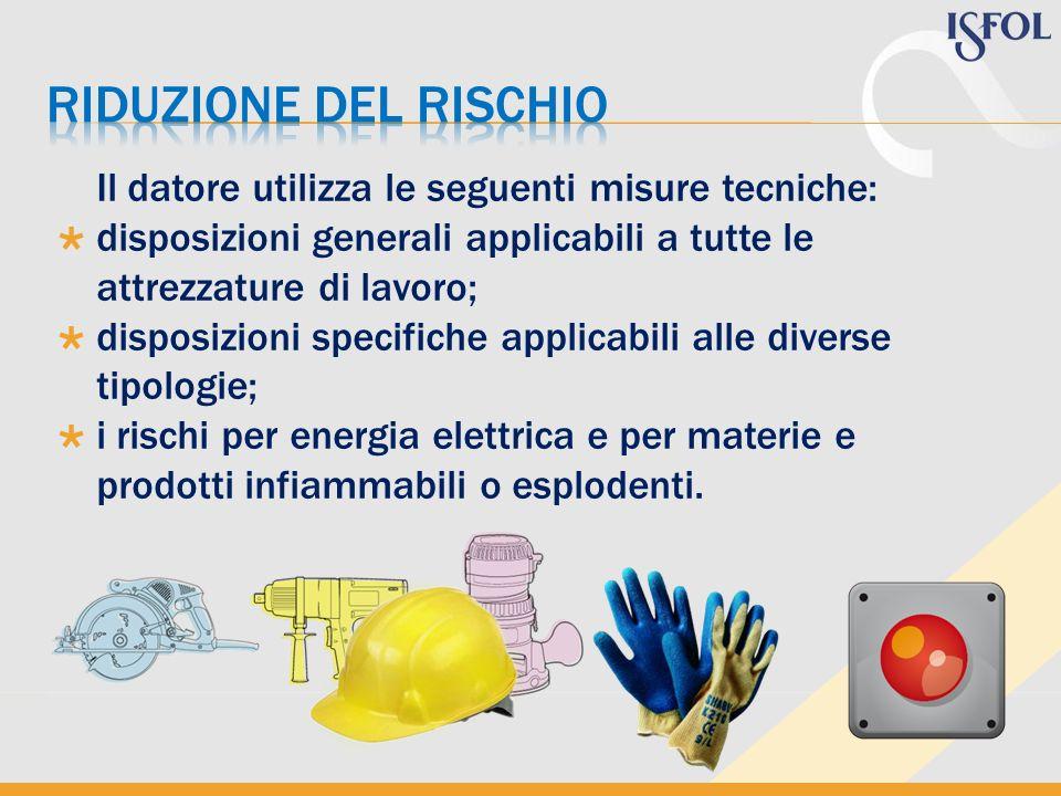 Riduzione del rischio Il datore utilizza le seguenti misure tecniche: