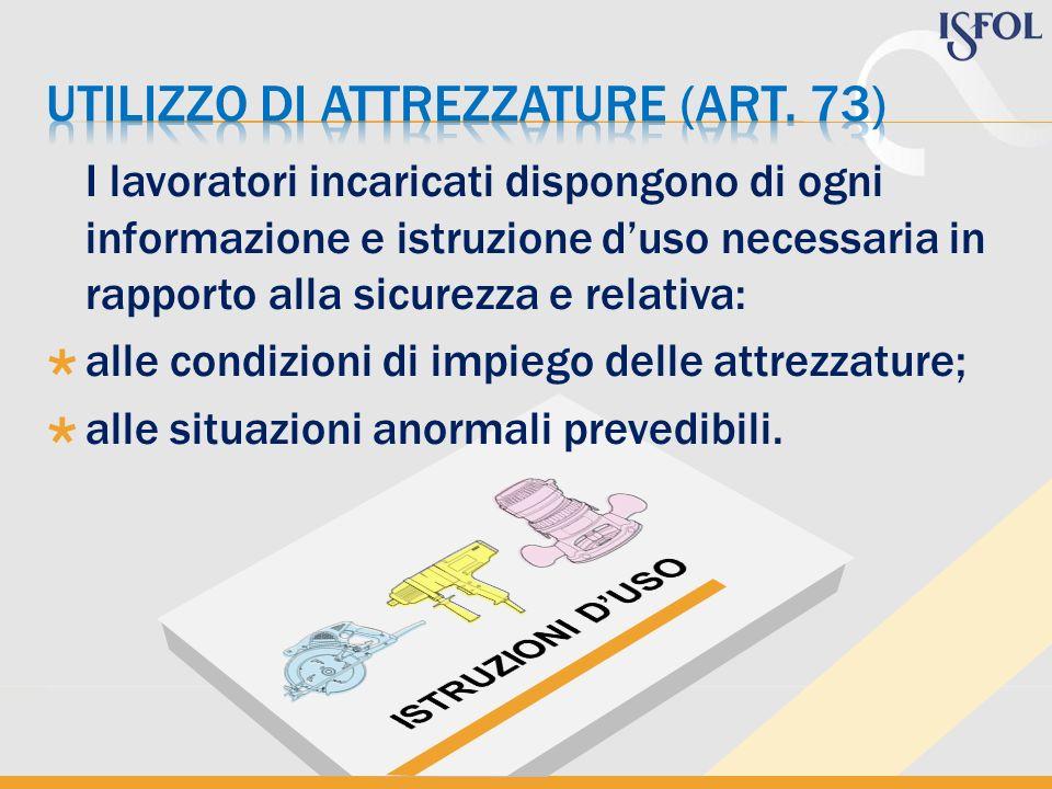 Utilizzo di attrezzature (art. 73)