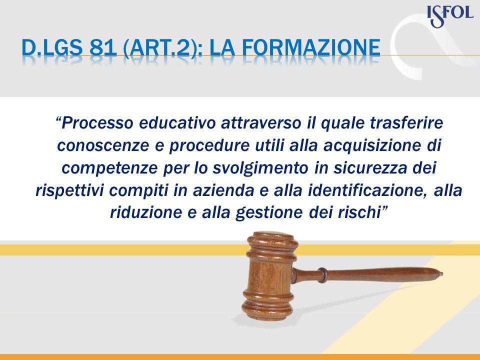 D.Lgs 81 (art.2): la formazione